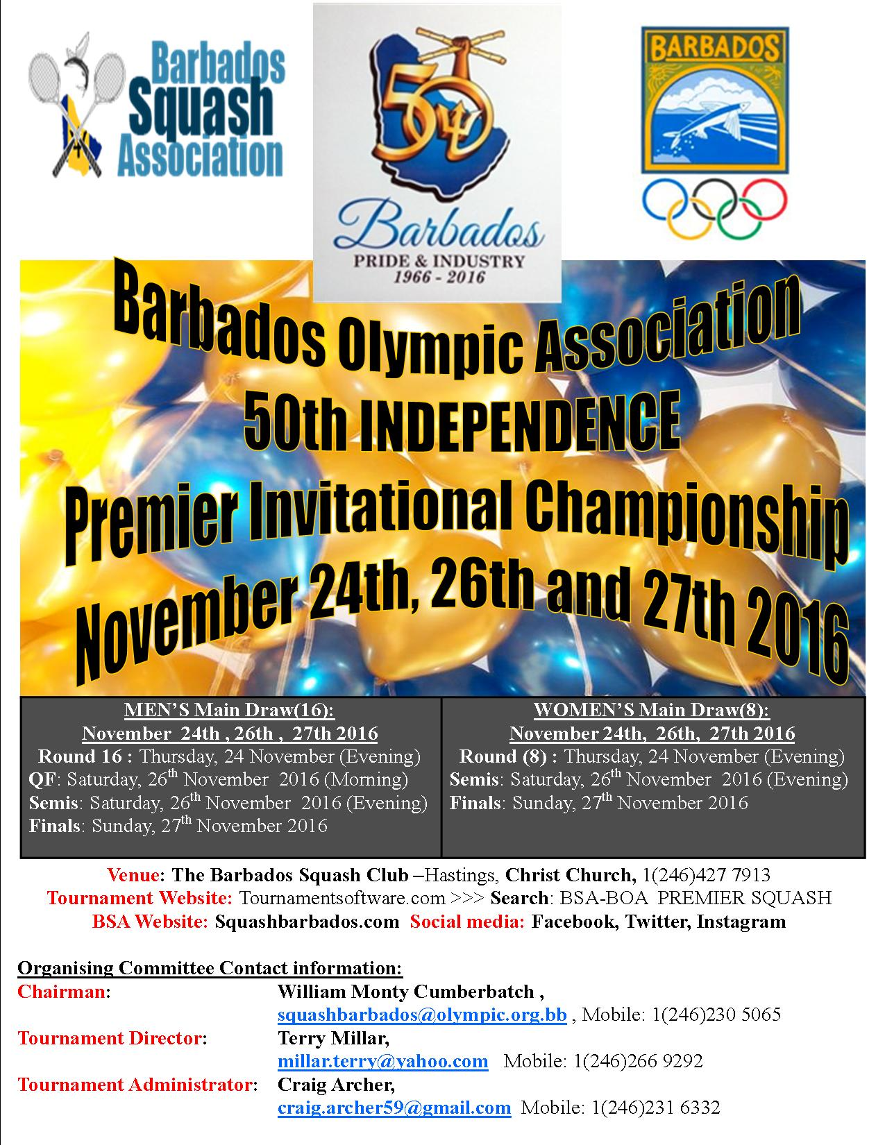 BSA In Conjunction With BOA To Host 50th Anniversary Premier Squash Championship