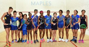 The Barbados girls squash team (in blue) vanquished Guyana 3-2 to claim its 2nd straight team gold medal and 14th in total in 34 years!