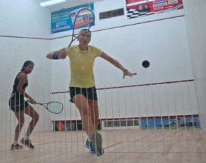 Going for Gold: Pre-tournament favourite Karen Meankins of Barbados was a picture of concentration against Ashley DeGroot of Guyana on Sunday night. Meakins comfortably won the match 11-2, 11-3, 11-3.
