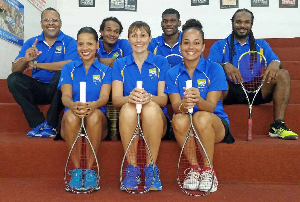 United for Barbados! (Front row from left) Alex Jordan, Ladies' captain Karen Meakins and Nadia McCarthy; (back row from left) manager Craig Archer, Rhett Cumberbatch, Men's captain Shawn Simpson and Gavin Cumberbatch.