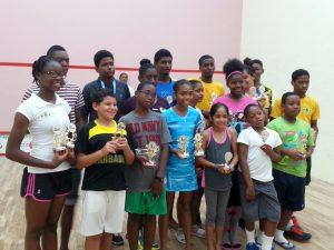 St. Vincent Open Squash Junior players