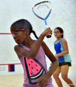 9 yr. old Rebekah about to hit a backhand drive