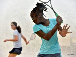 Jada about to hammer a backhand drive