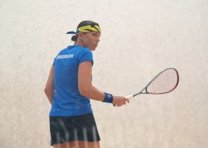 Karen MEAKINS(BAR) on court during the early rounds of the XXII Senior CASA Squash Championships in Barbados